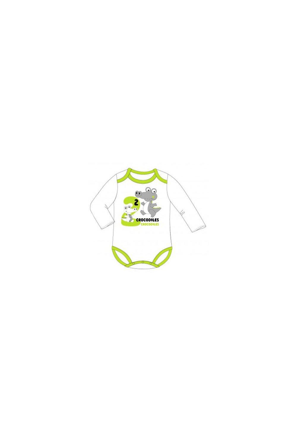 Body maneca lunga, crocodil, alb cu verde imagine