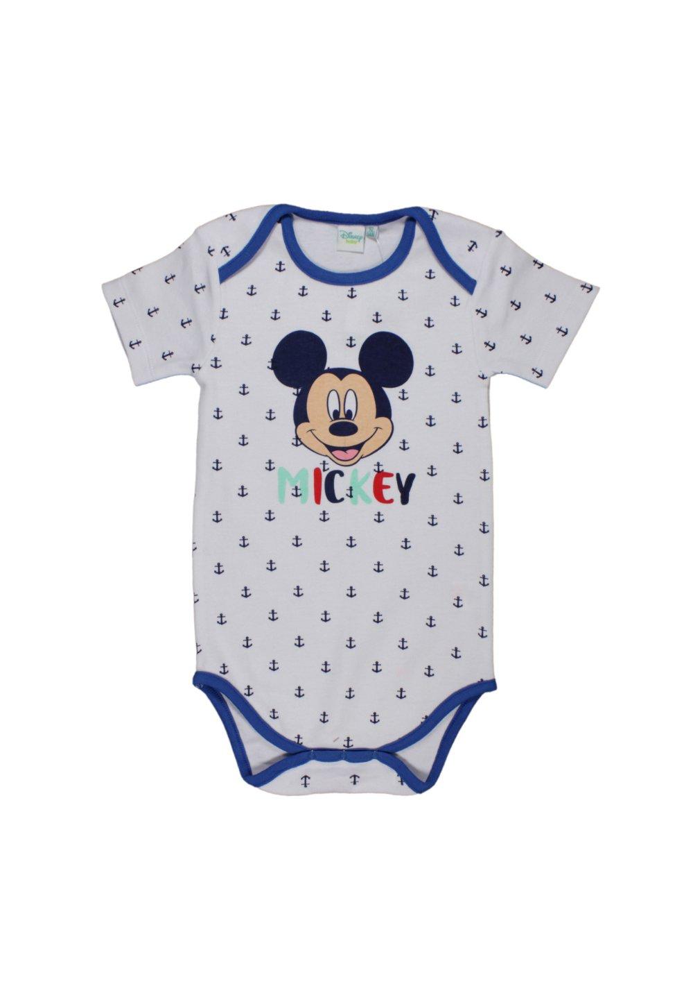 Body maneca scurta, Mickey Mouse, alb cu ancore imagine
