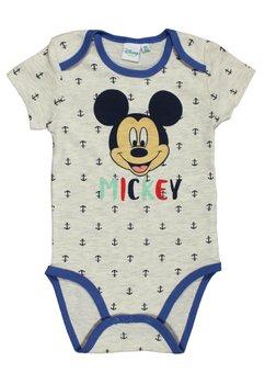 Body maneca scurta, Mickey Mouse, crem cu ancore