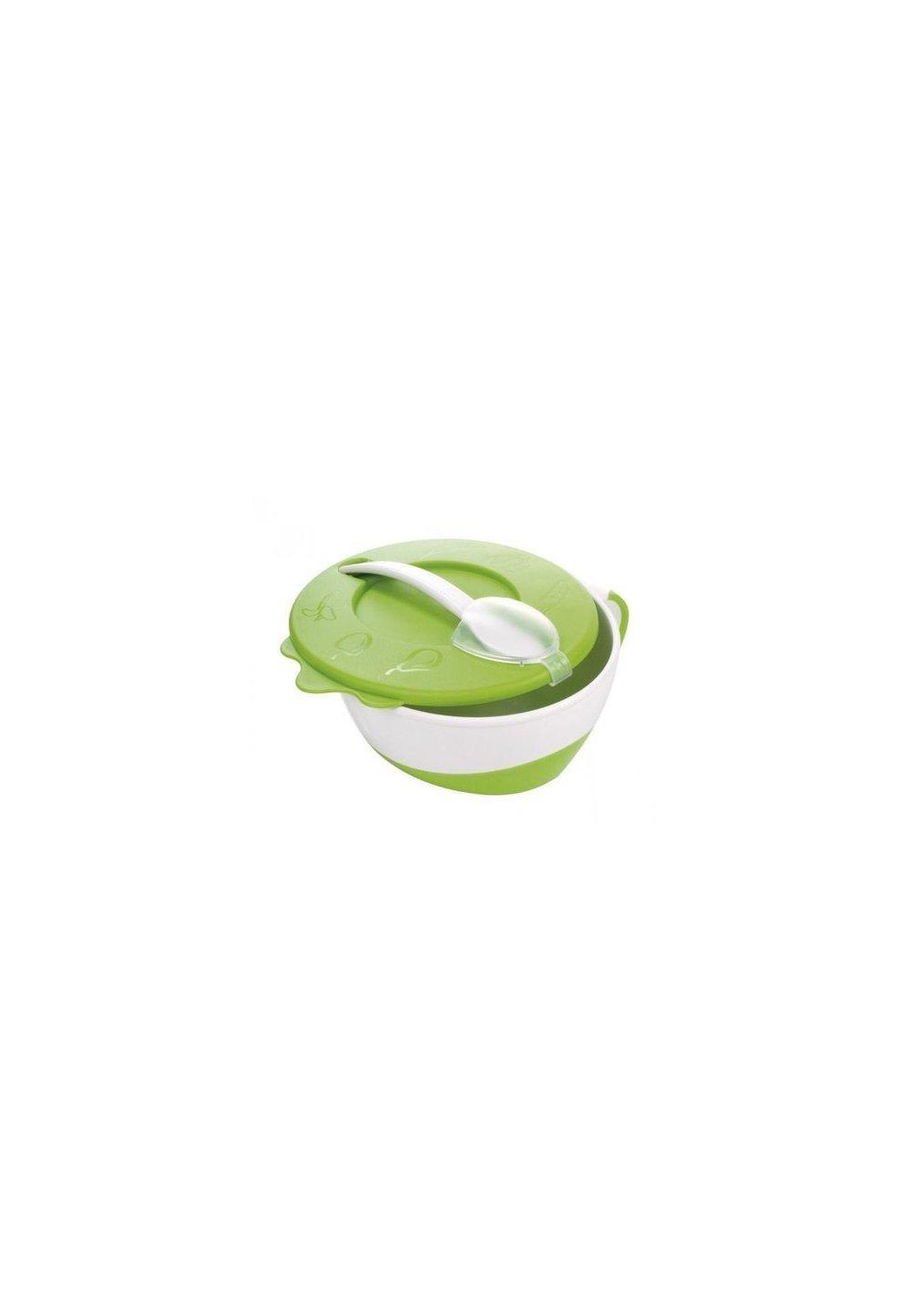Bol cu capac si lingurita, verde, + 9 luni imagine