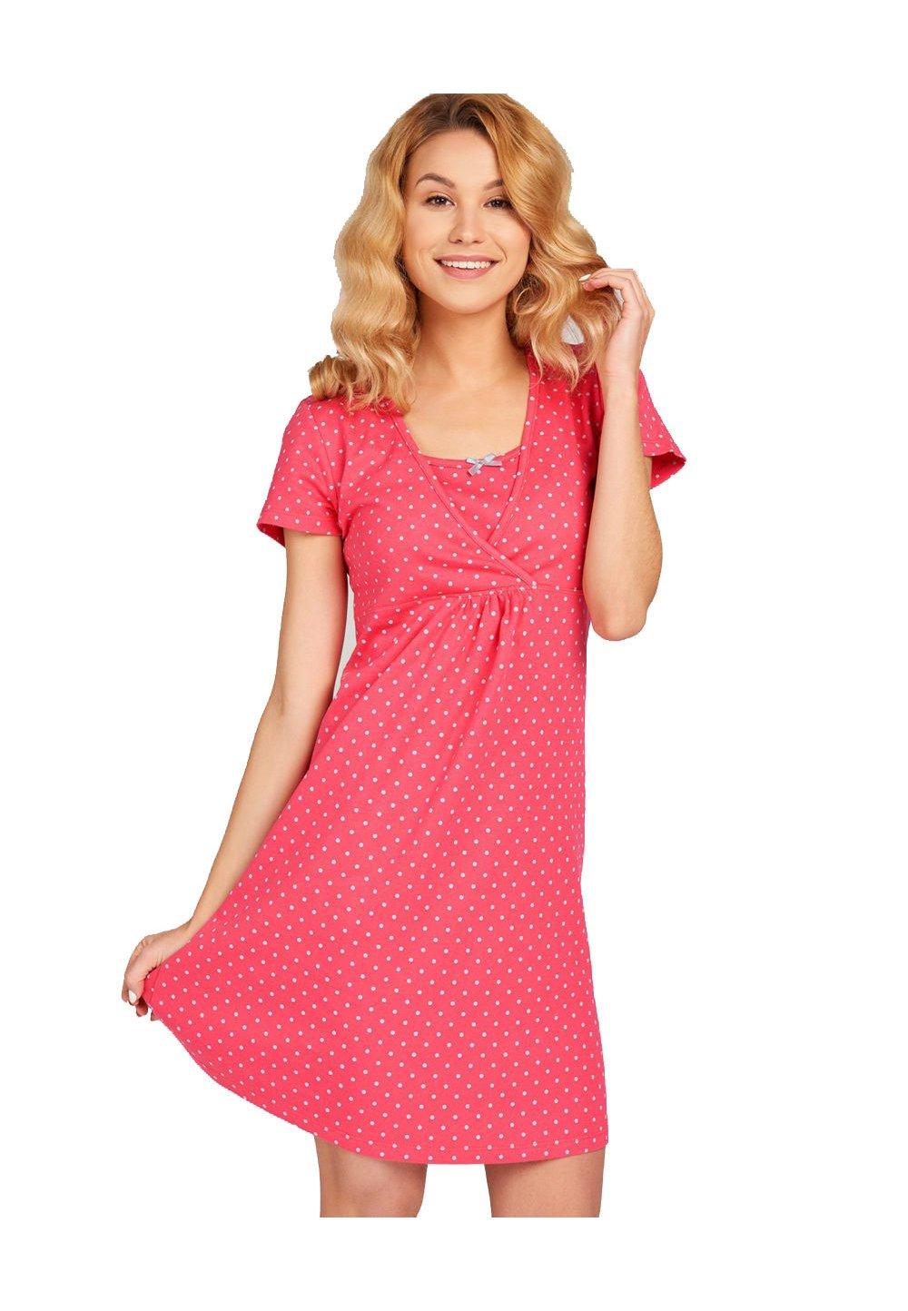 Camasa pentru alaptat, Milly, roz inchis cu buline imagine