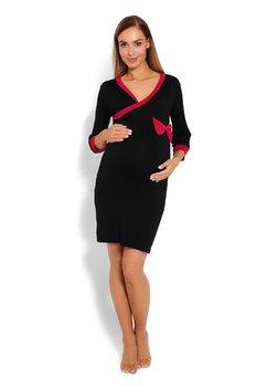 Camasa pentru alaptat, neagra cu fundita roz