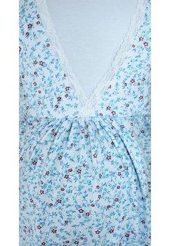 Camasa pentru alaptat, alba cu frunzulite albastre