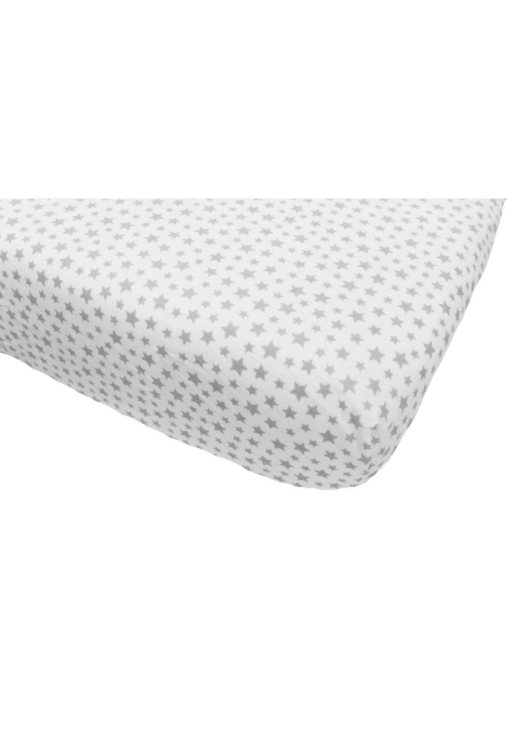 Cearceaf bumbac, alb cu stelute gri, 120x60 cm imagine