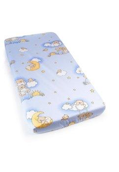 Cearceaf bumbac cu elastic, albastru, ursuletul somnoros
