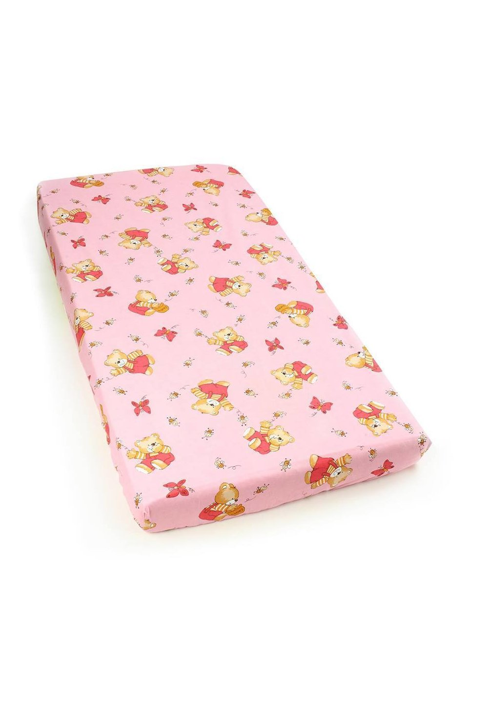 Cearceaf bumbac cu elastic, roz, ursuletul si albinutele imagine
