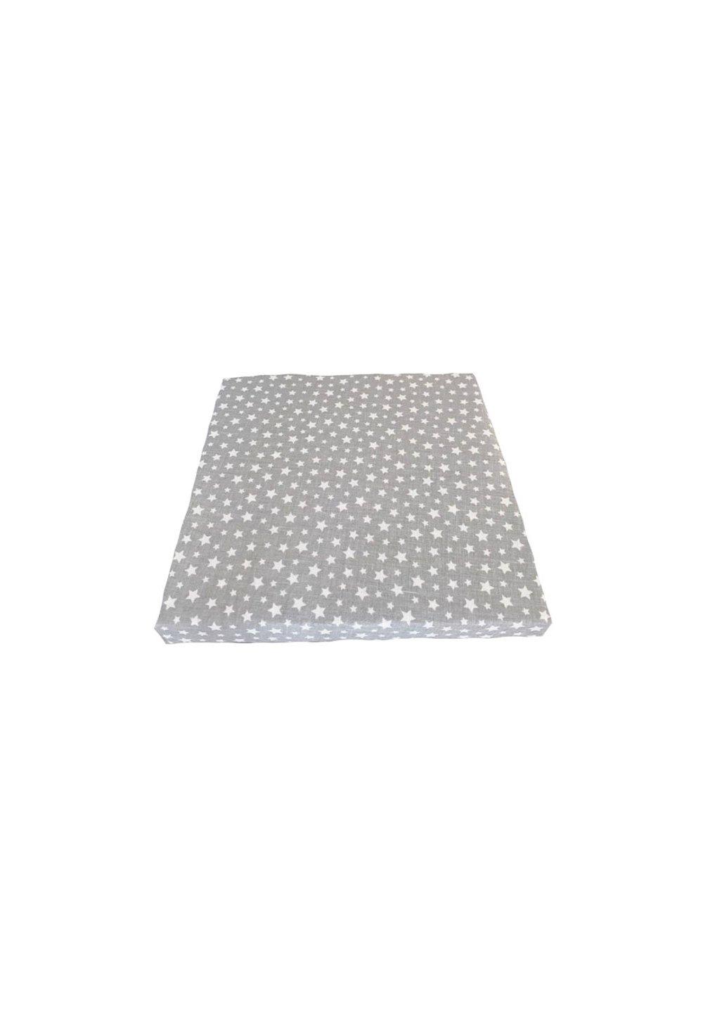 Cearceaf bumbac, gri cu stelute albe, 120x60 cm imagine