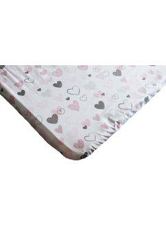 Cearceaf bumbac, inimioare, roz cu gri, 120x60cm