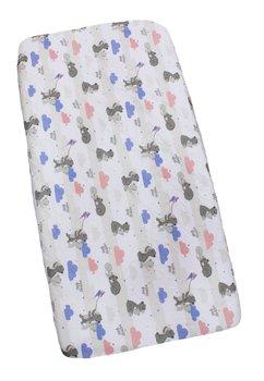 Cearceaf bumbac, mama bear, roz cu albastru 120x60 cm