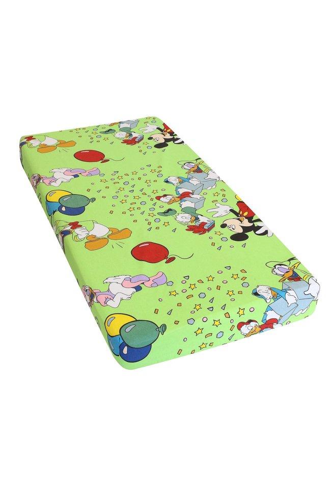 Cearceaf bumbac,Mickey petrece, verde, 120 x 60 cm