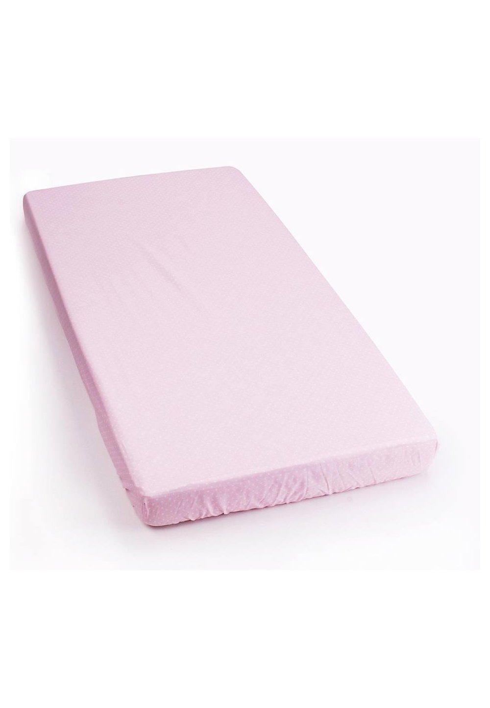 Cearceaf cu elastic 120x60cm roz cu buline imagine