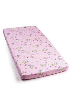 Cearceaf cu elastic, Hello Kitty, roz deschis 120x60 cm