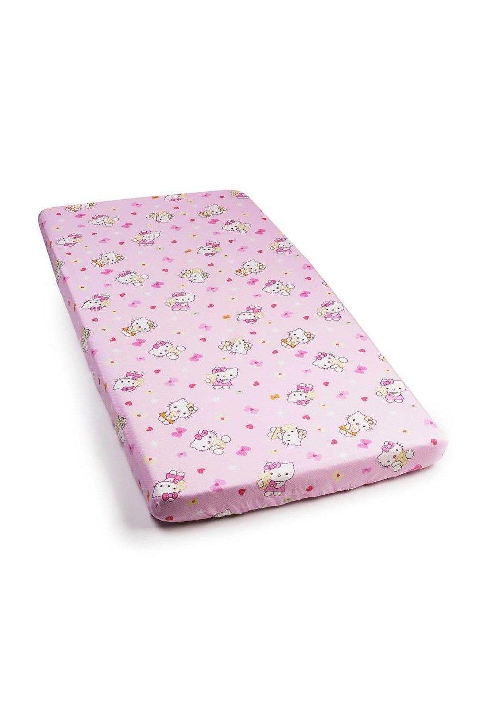 Cearceaf cu elastic, Hello Kitty, roz deschis 120x60 cm imagine