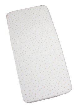 Cearceaf patut, alb cu stelute maro, 120x60cm