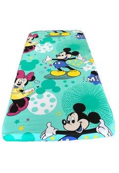 Cearceaf patut, turcoaz, Minnie si Mickey, 120x60cm