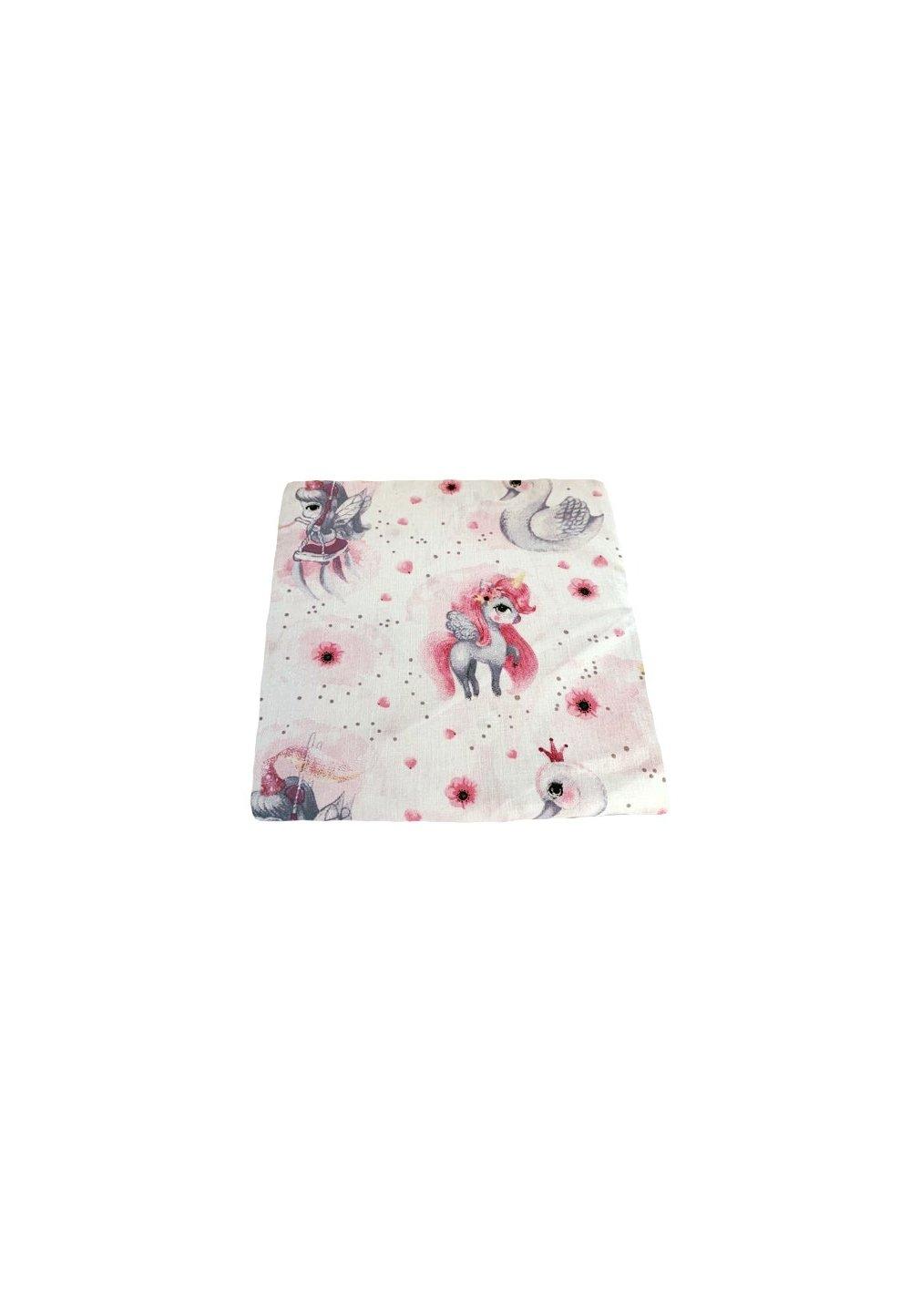 Cearceaf patut, Unicornul roz, 120x60 cm imagine