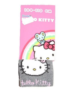 Ciorapi cu chilot hello kitty gri  cu buline roz