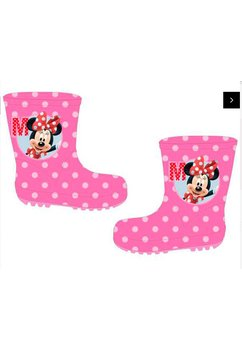 Cizme de cauciuc, Minnie Mouse, roz cu buline albe