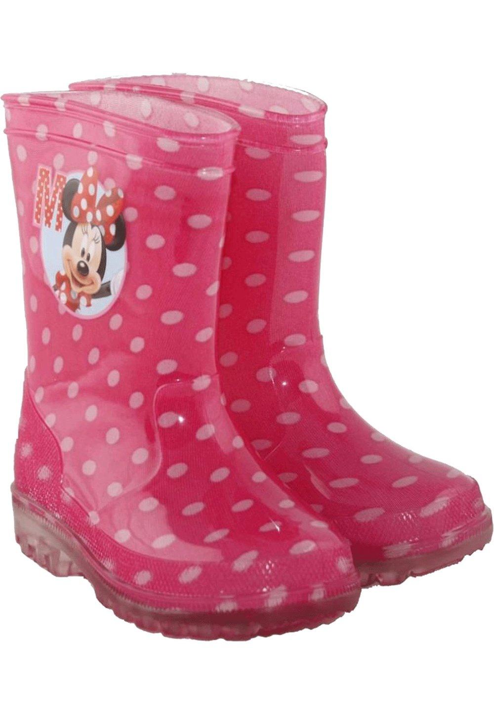 Cizme de cauciuc, Minnie Mouse, roz cu buline albe imagine
