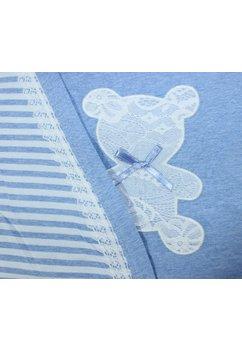 Compleu alaptat, ursulet, albastru cu dungi