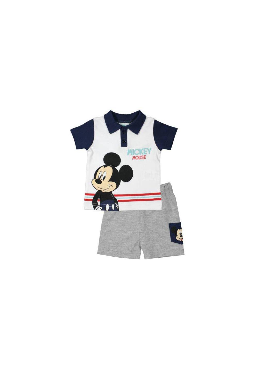 Compleu maneca scurta, Mickey, alb cu bluemarin imagine