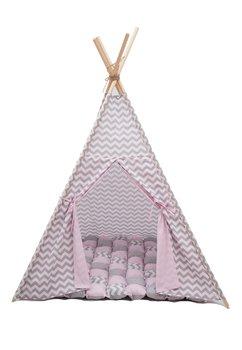 Cort teepee, roz cu gri, saltea de joaca inclusa