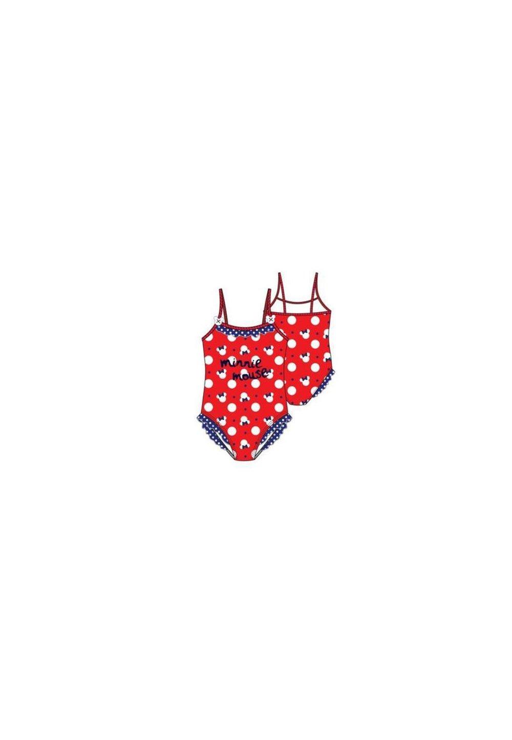 Costum de baie, intreg, cu print, Minnie, rosu imagine