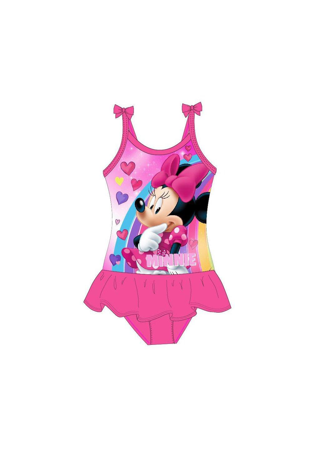 Costum de baie, intreg, Minnie, roz cu inimioare imagine