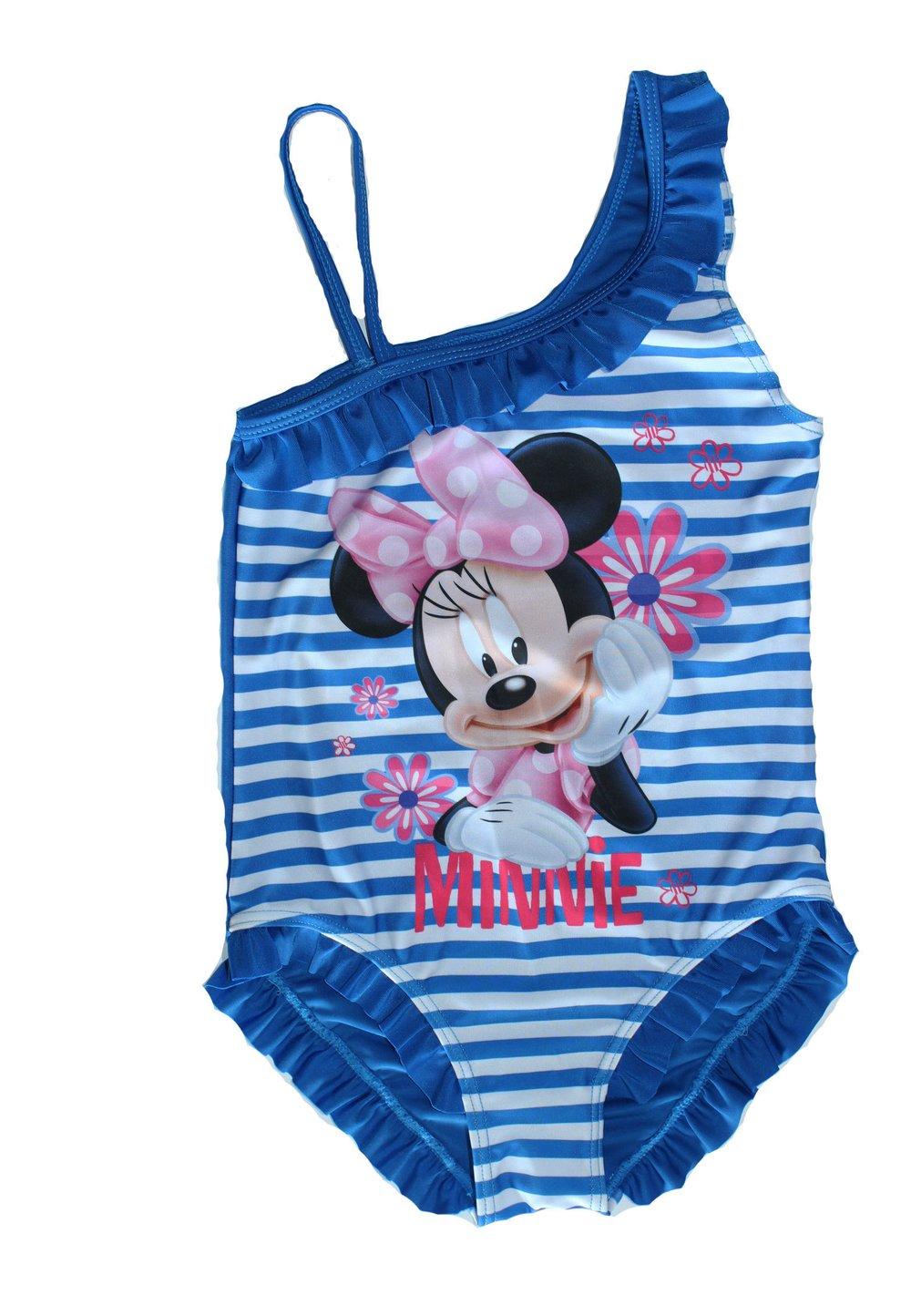 Costum intreg de baie, Minnie, alb cu dungi albastre imagine