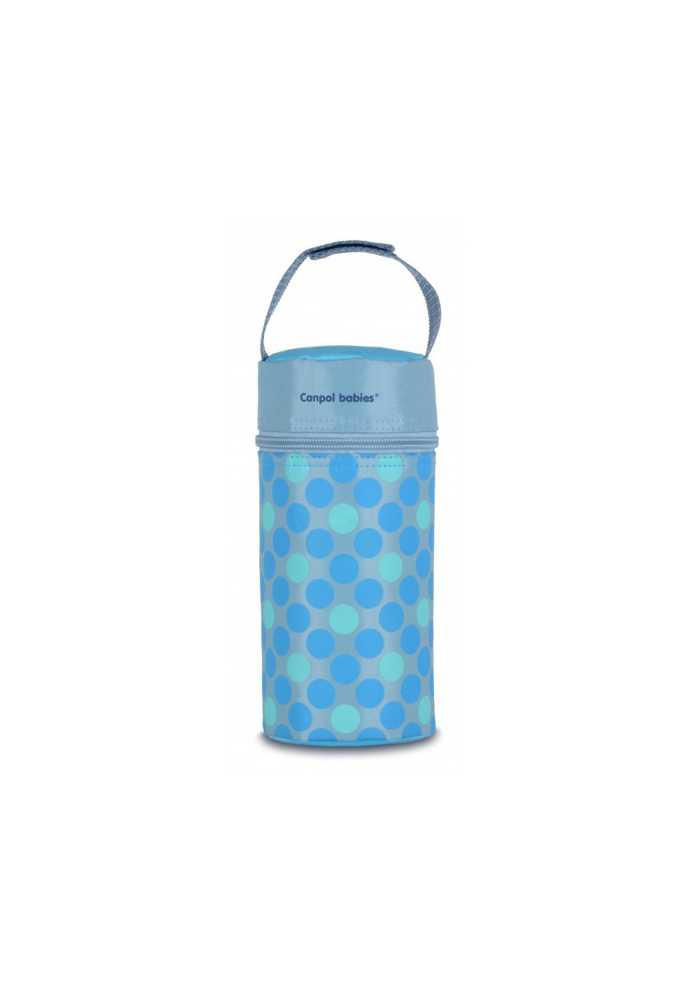 Izolator pentru biberoane, Canpol, gri cu buline albastre imagine