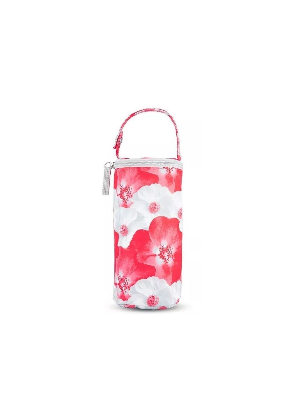 Izolator pentru biberoane, Lady mum, rosu cu flori imagine