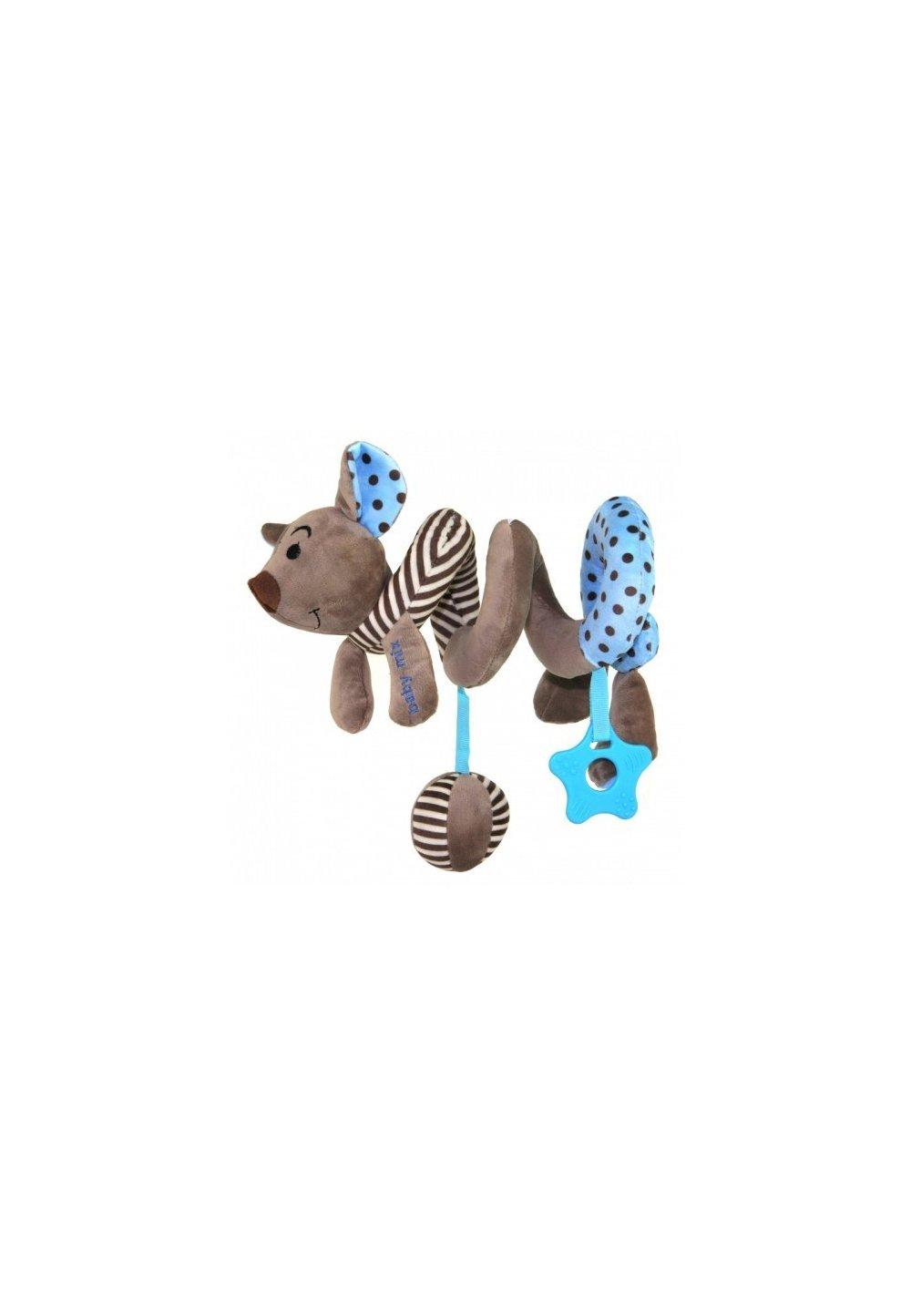 Jucarie pentru carucior spirala, soricel, albastru