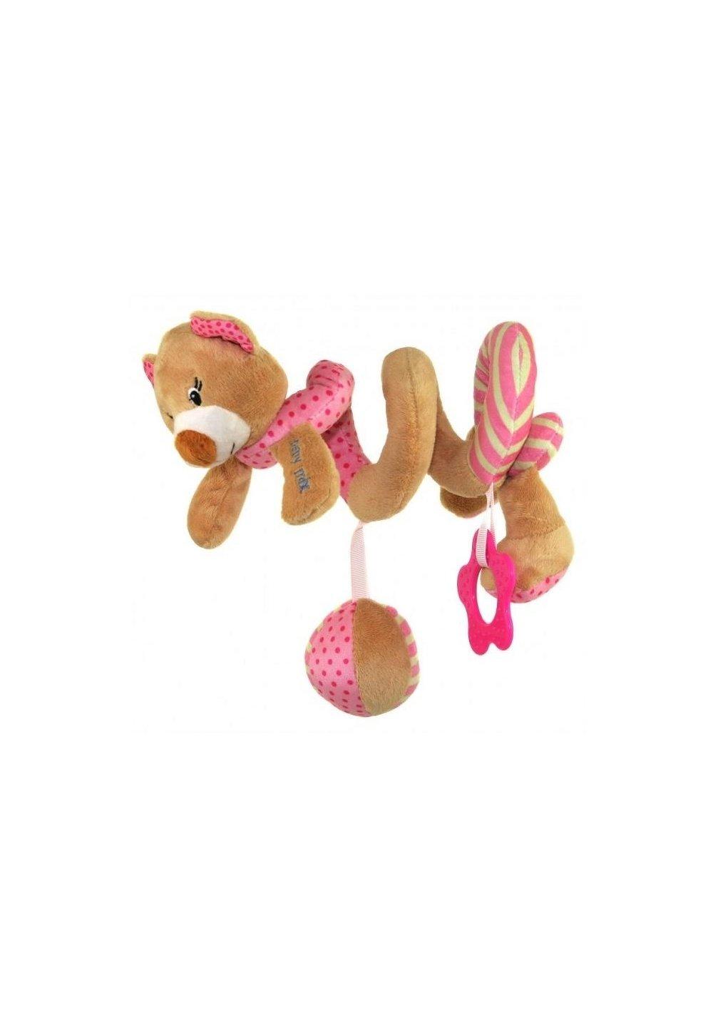 Jucarie pentru carucior spirala, ursulet, roz, 40cm