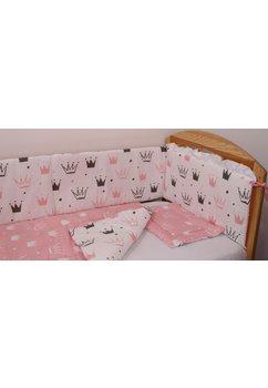 Lenjerie 2 fete, 5 piese, coronite Princess roz, 140 x 70 cm