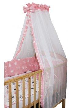 Lenjerie 2 fete, 6 piese, coronite Princess roz, cu baldachin, 140 x 70 cm