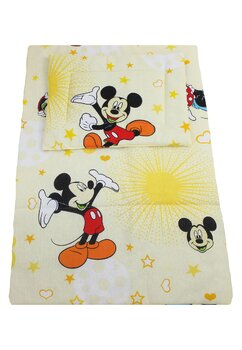Lenjerie 3 piese, Minnie si Mickey, galben, 120x60cm