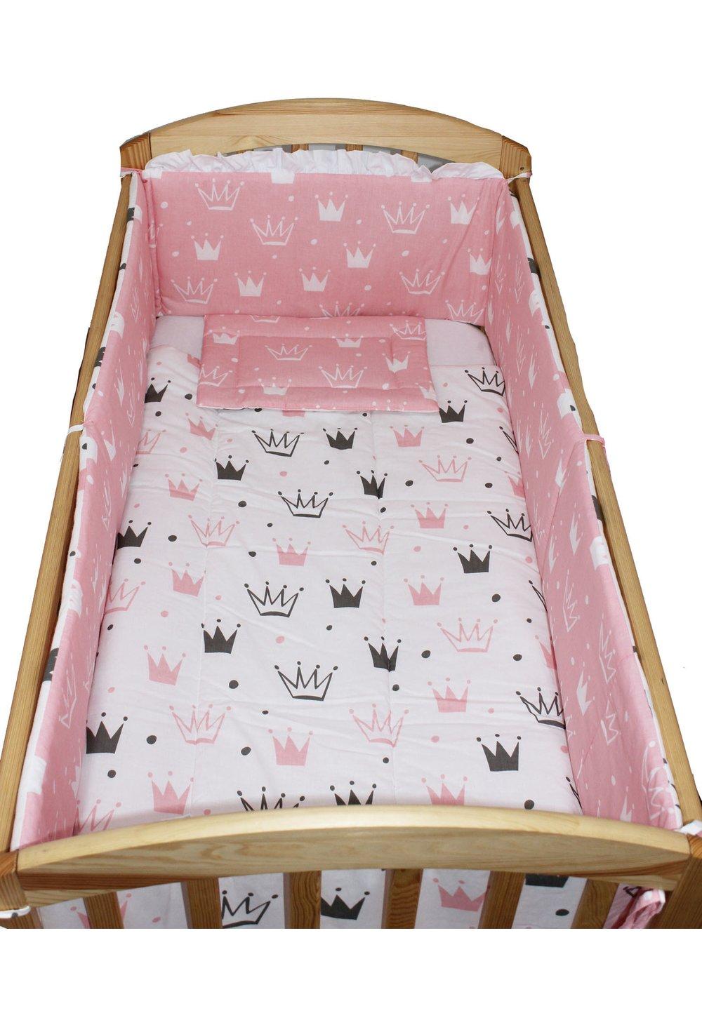 Lenjerie 5 piese, 2 fete, coronite Princess roz, 120 x 60 cm imagine
