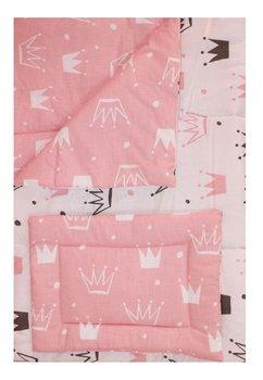 Lenjerie 5 piese, 2 fete, coronite Princess roz, 120 x 60 cm