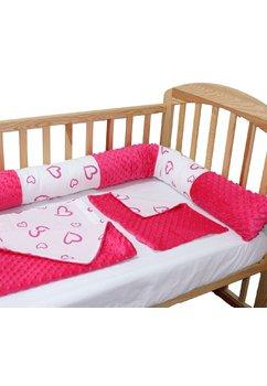 Lenjerie 5 piese, cu bumper, roz inchis, inimioare, 120 x 60 cm
