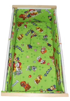 Lenjerie 5 piese, Patrula catelusilor, verde 120x60cm