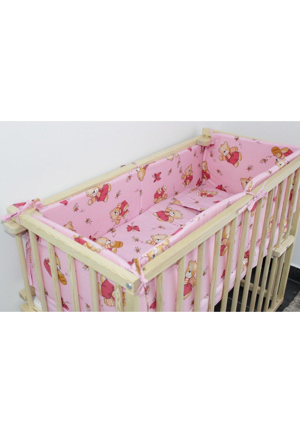 Lenjerie 5 piese, piccolo, ursulet cu albinute, roz, 95x45cm imagine