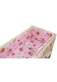 Lenjerie 5 piese, piccolo, ursulet cu albinute, roz, 95x45cm
