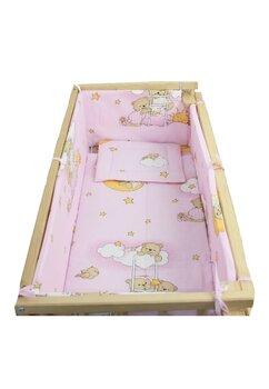 Lenjerie 5 piese, piccolo, Ursuletul somnoros roz, 95x45cm