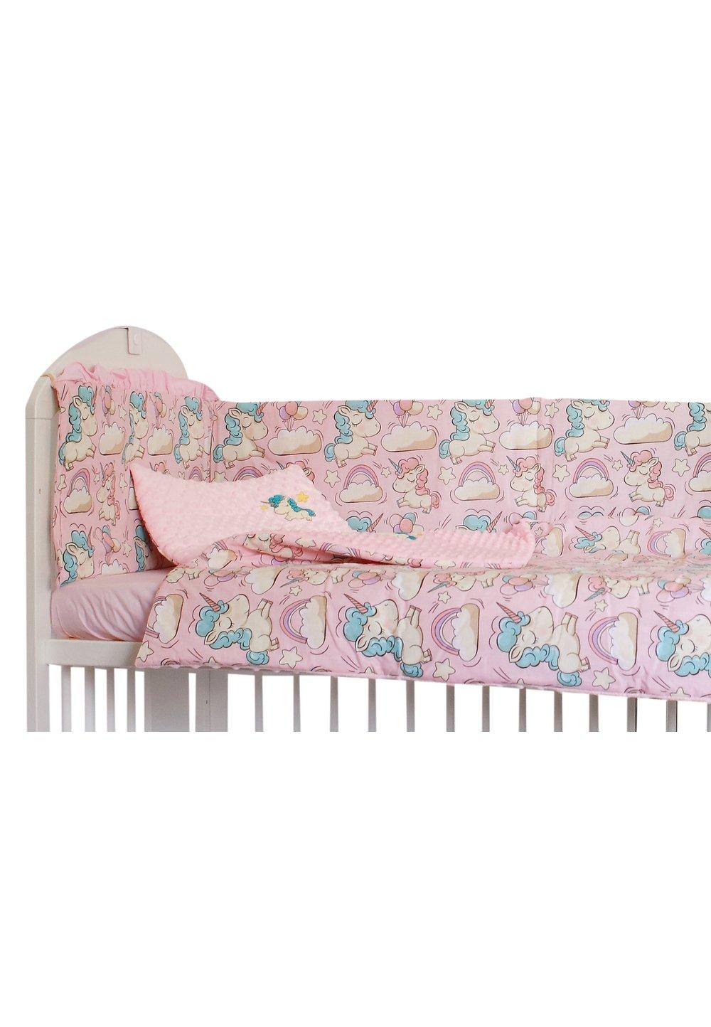 Lenjerie 5 piese, Unicorn roz, 120 x 60 cm imagine
