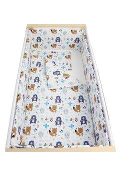 Lenjerie 5 piese, Ursuletul cu esarfa, albastru, 120x60cm