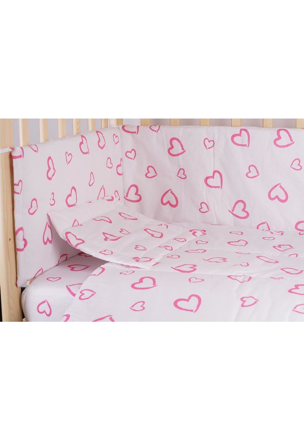 Lenjerie alba,inimioare,roz,4 piese, 120 x 60 imagine