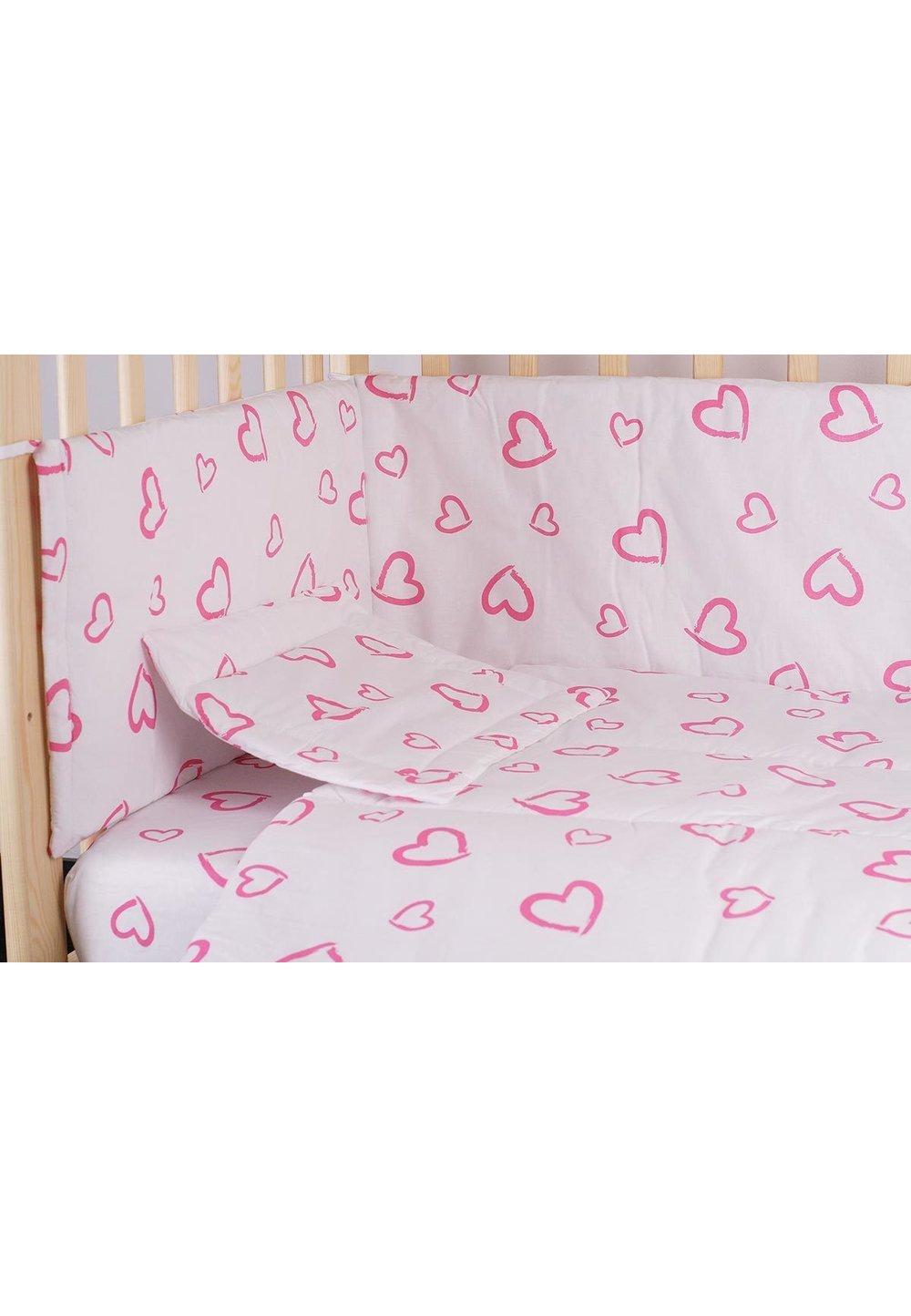 Lenjerie alba,inimioare,roz,5 piese, 120 x 60 imagine