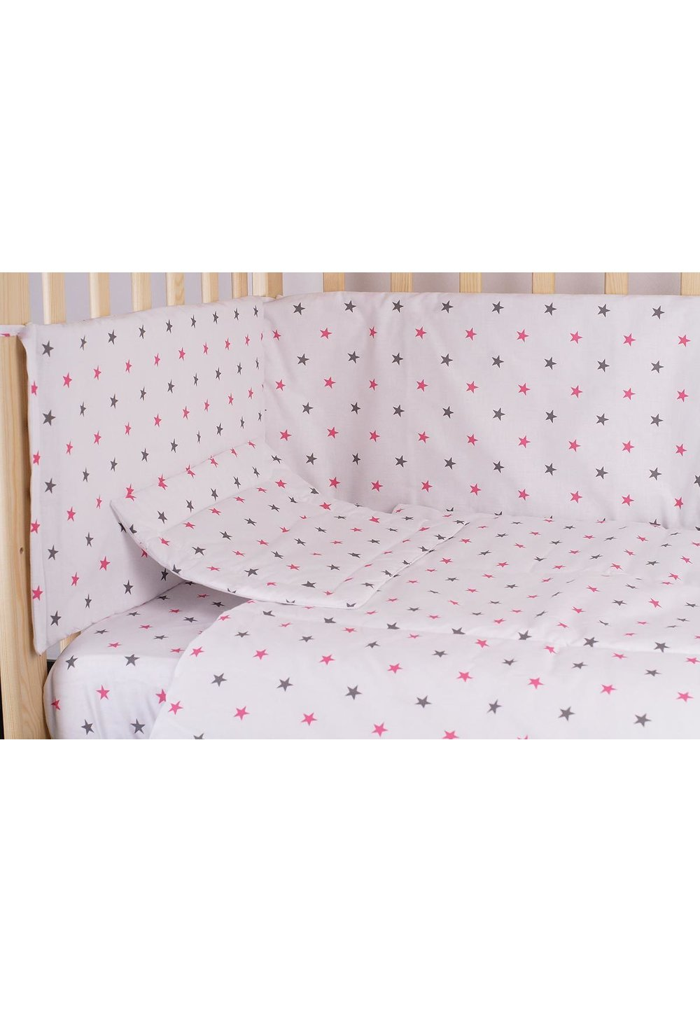 Lenjerie alba,stelute roz cu gri,4 piese, 120 x 60 imagine
