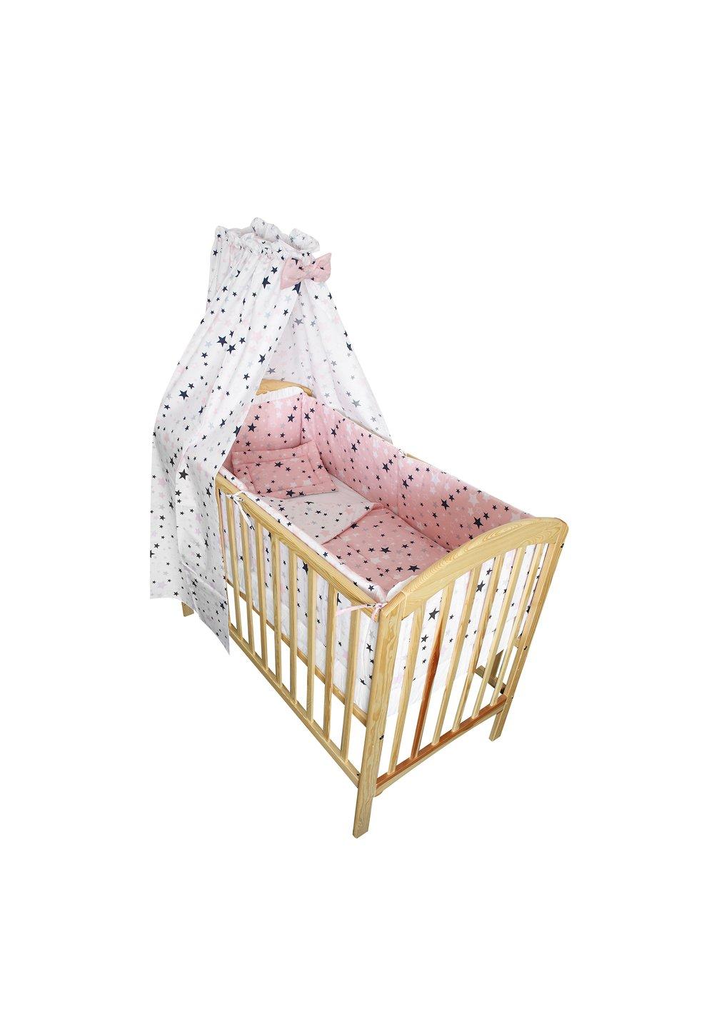 Lenjerie cu baldachin, 2 fete, stelutele roz 1, 120 x 60 cm imagine