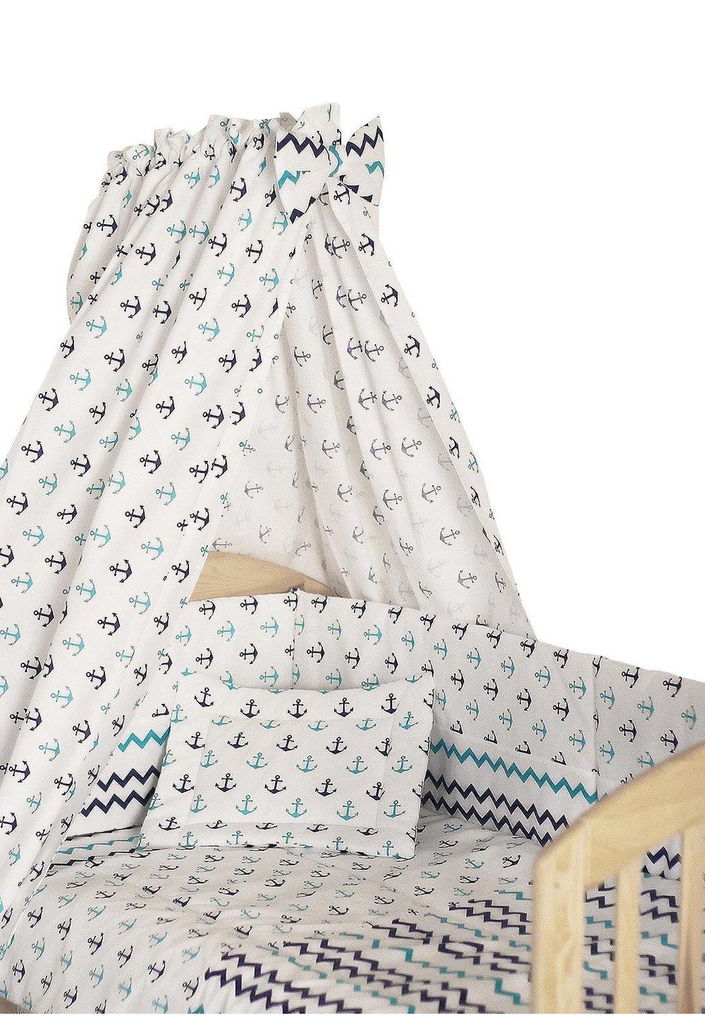Lenjerie cu baldachin, 6 piese, ancore, 120x60 cm imagine